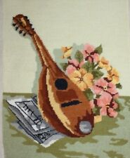 Flowers and Mandolin on a Table Needlepoint Completed Finished Unframed