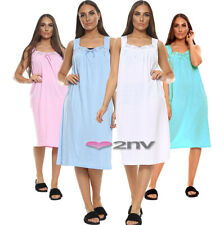 Ladies Nightwear 100% COTTON Rich Night Dress Sleeveless Nightshirt Nightie Gown