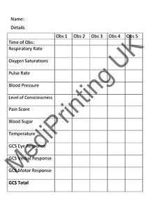 Medical Observation Pad - A6 duplicated pages - multiple observations