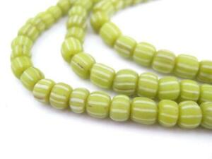Lime Green Java Gooseberry Beads 5mm Indonesia Cylinder Glass 24 Inch Strand