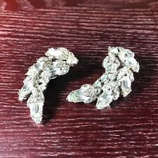 Bogoff Vintage Rhinestone Clip Earrings Crystal Uncolored Baguettes