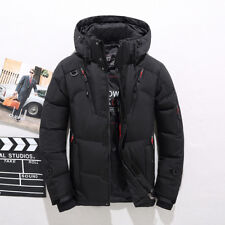 Men Winter Warm Outerwear Hooded White Thick Duck Down Jacket Coat Parka