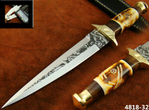 ALISTAR 12'' HANDMADE ACID ETCH STAINLESS STEEL HUNTING DAGGER KNIFE (4818-32