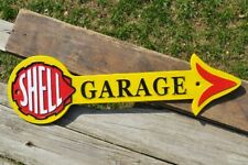 Shell Garage Arrow Embossed Cast Iron Metal Gas Station Sign - Motor Oil Plaque