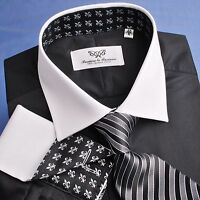 Black Poplin Dress Shirt Contrast French Double Cuff Business Formal Luxury Boss