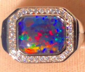 100% Natural Australian Black Red Opal Solid Men's ring 11 Sapphire Signet V.5