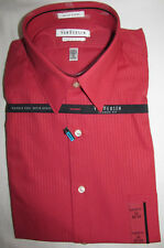 New Van Heusen Classic Fit Red Pinstripe Dress Shirt Mens Size 16 32 33