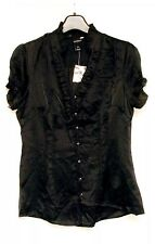 (Size: 12 ) White House Black Market Women's Silk Black Blouse