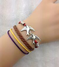 Bracelet marron, rouge, jaune et violet avec couple d'oiseau