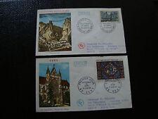 FRANCE - 2 enveloppes 1er jour 1965 (vitrail sens-moustiers ste m) (cy18) french