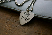 Hand Made Etched Nickel Silver Guitar Pick Necklace - Pink Floyd