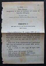 REGIO DECRETO - Tassa sul bestiame nel comune di Guardea (Perugia) - 1882 - 174