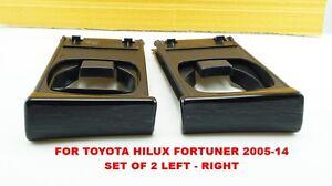 TOYOTA HILUX VIGO FORTUNER 2004-2014 GENUINE BLACK WOOD DASH CUP HOLDER SET OF2
