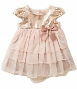 Bonnie Baby Baby Girls Newborn 3-6 Months Jacquard Bodice Tiered Mesh Dress PINK