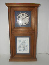 NOEL WOODCRAFT WOOD CLOCK RECTANGULAR SHAPE WITH MARGARET B SIGNED PRINT