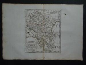 1795 Robert de VAUGONDY  Atlas map  HUNGARY - BALKANS - GREECE  Turkey in Europe