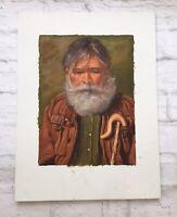 "Vintage Impressionist Painting Portrait Old Man Beard Cane Gray Hair Art 12""x16"""