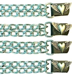 4 HEART & WINGS LADIES DIAMOND CUT CHROME MOTORCYCLE VEST EXTENDERS MADE IN USA