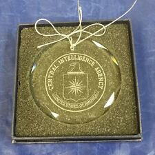 """CIA Central Intelligence Agency 3"""" Beveled Crystal String Ornament Blue Gift Box"""