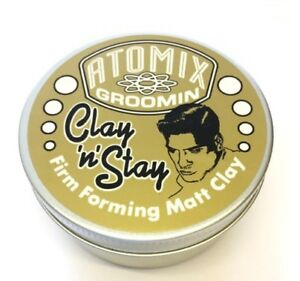 Atomix Groomin Clay n Stay Matt Mens Grooming Products Clay Paste Wax Gel Pomade