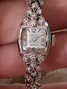Vintage Gruen Precision Womans 14K Solid Gold w/Diamonds Runs