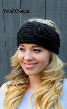 Black Knit Ear warmer Chunky Flower Head Wrap Button Adjustable Headband Winter