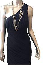BCBG Maxazria Navy Blue Ruched One Shoulder Cocktail Dress Size Medium $358
