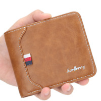 Men's Faux Leather Wallet Pockets ID Credit Card Holder Clutch Bifold Purse