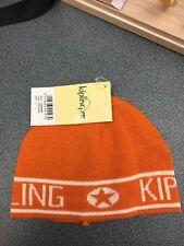 Cappello kipling, in lana, color arancione e rifiniture in panna, misura L