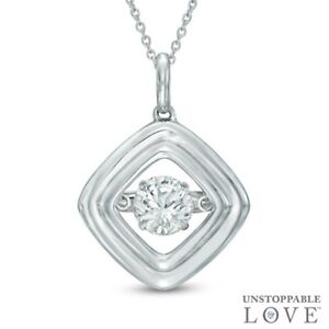 🔥White Sapphire Tilted Square Pendant in Sterling Silver🔥