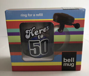Here's to 50 Ring for a Refill Glass Stein Mug with Bell Gift Boxed Brand New