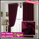 Blockout Red Maroon Bedroom Door Fabric Drapes+Sheer Eyelets Rod Pocket Curtains