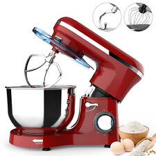 Electric Food 6 Speed 6Qt 660W Tilt-Head Stainless Steel Stand Mixer Bowl Red