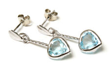 9ct White Gold Blue Topaz Heart Dangly Long Drop Earrings Made in UK Gift Boxed