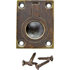 1-1/2 inW x 2 inH Rectangular Recessed Ring Pull, Antique Brass