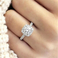 Halo Cushion Cut 18K White Gold Engagement White Sapphire Ring Jewelry Size 5-11