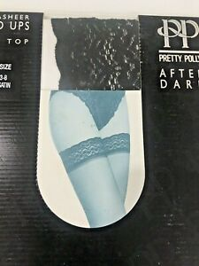 Pretty Polly After Dark Ultra Sheer Lace Top Hold Ups Stockings Black Satin NEW