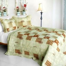 3 Pc Only You checks roses rust beige tan plaid 100% Cotton Queen Quilt Shams