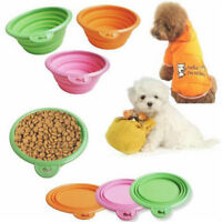 Dog Food Bowl Silicone Foldable Portable Collapsible Pets Cat Feeding Water Dish