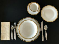 New ListingPottery Barn Dinnerware Serv For 12 +Serving Pieces -White w/Gold Trim -Pb Gold