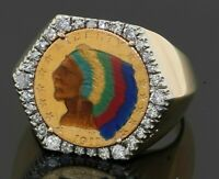 Heavy 14K gold .80CT VS diamond enamel 1911 22K gold Indian head coin men's ring