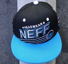 Neff Mens Skate Co. Headwear Black/Teal Snapback Hat Cap One size Fit