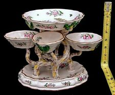 French Faience Veuve Perrin Center Piece Epergne Hand Painted Figural Tree