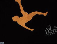 Pele Signed 11x14 Soccer Photo Bike Kick Logo - Autographed Bas Beckett Coa