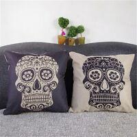 1pc Retro Skull Cotton Owl Linen Pillow Case Sofa Throw Cushion Cover Home Decor
