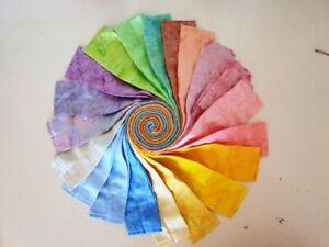 Batik 100% Cotton Fabric Quilter Jelly Roll 40 x 112cm x 6.35cm Pastel Marbles
