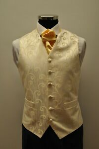 Men's and Boy's Wedding Waistcoats In Cream with a Champagne Gold Swirl