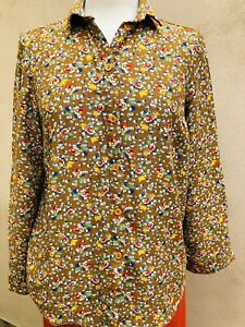 Topshop Prairie Vintage Floral Flower Print Mustard Shirt Top UK 6