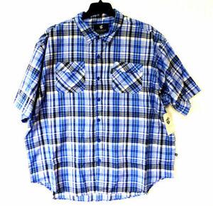 Rocawear Mens Diego SS Shirt Textured Blue&Black Plaid Button Down Short sleeve-