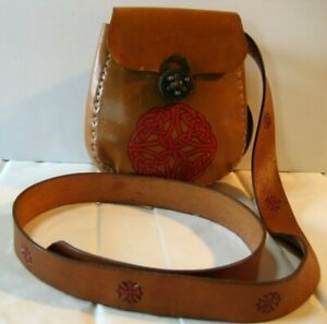 Vintage Leather Purse/Pouch - Viking or Celtic Attire w/ Long Belt - Hand Tooled